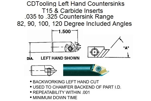 Countersink Left Hand With Carbide or T15 Inserts 82, 90, 100,120 Degree DAV-CSK ID 2233-