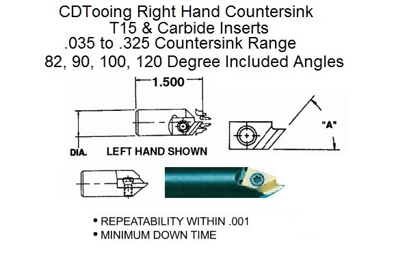 Countersink Right Hand With Carbide or T15 Inserts 82, 90, 100, 120 Degree DAV-CSK ID 2234-