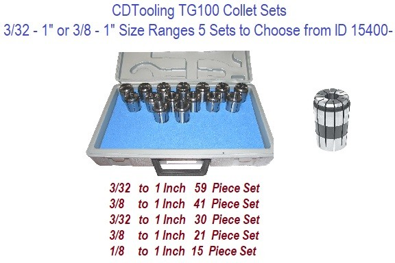 TG100 Collet Sets Sizes Range from 3/32 to 1 Inch Diameter 5 sets to Choose from ID 15400-