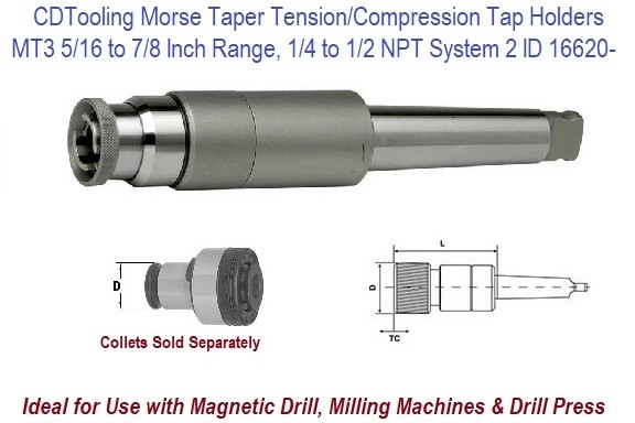 Morse Taper 3  MT3  5/16 to 7/8 Inch, Tap 1/4 - 1/2 NPT Capacity Tension Compression Tap Holder ID 16620-534-552