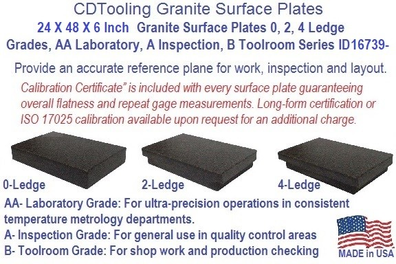 24 x 48 x 6 Granite Surface Plates 0, 2, 4 Ledge Grades, AA Laboratory, A Inspection, B Toolroom Series ID 16739-