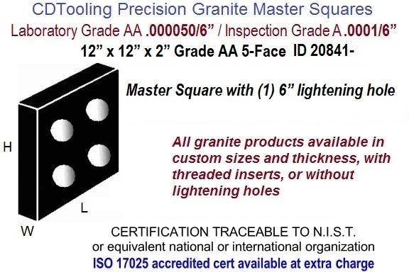 "12 x 12 x 2 Grade AA 5-Face Master Square with (1) 6"" lightening hole ID 20841-"