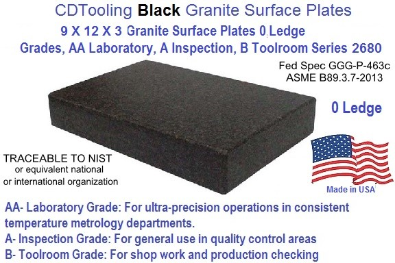 9 x 12 x 3 Granite Surface Plates 0 Ledge Grades, AA Laboratory, A Inspection, B Toolroom Series 2680-