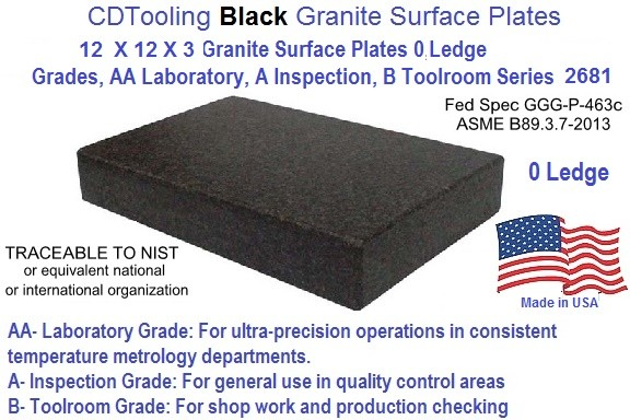 12 x 12 x 3 Granite Surface Plates 0 Ledge Grades, AA Laboratory, A Inspection, B Toolroom Series 2681