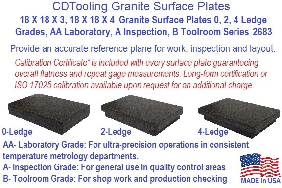 18 x 18 x 4,18 X 18 X 3 Granite Surface Plates 0, 2, 4 Ledge Grades, AA Laboratory, A Inspection, B Toolroom Series 2683