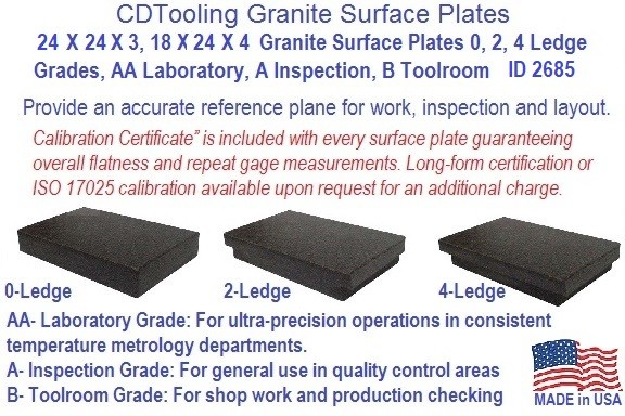 24 x 24 x 3 and  24 x 24 X 4 Granite Surface Plates 0, 2, 4 Ledge Grades, AA Laboratory, A Inspection, B Toolroom Series 2685-