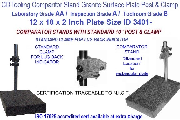 12 x 18 x 2 AA Laboratory, A Inspection, B Toolroom, Grade Granite Comparator Stand ID 3401-
