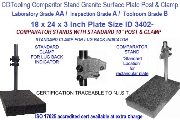 18 x 24 x 3 AA Laboratory, A Inspection, B Toolroom, Grade Granite Comparator Stand ID 3402-