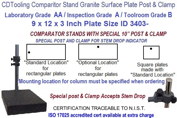 9 x 12 x 3 AA Laboratory, A Inspection, B Toolroom, Special Post Grade Granite Comparator Stand ID 3403-