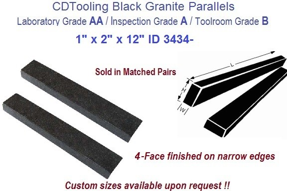 1 x 2 x 12 AA Laboratory, A Inspection, B Toolroom, 4 Face Parallels Black Granite ID 3432-