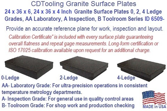 24 x 36 x 4 and 24 x 36 X 6 Granite Surface Plates 0, 2, 4 Ledge Grades, AA Laboratory, A Inspection, B Toolroom Series ID 6509-
