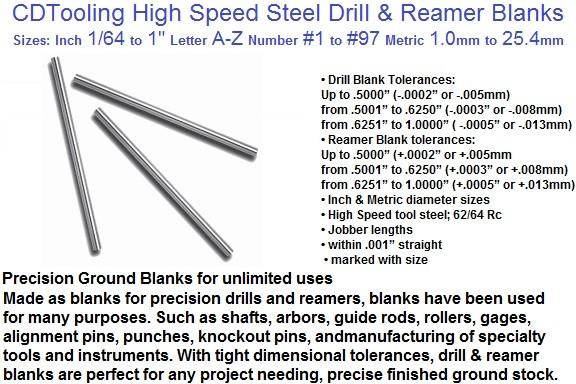 Drill Blank .2610 OAL 4-1//8 Size: G 3 Pcs.