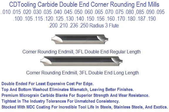 Carbide End Mill Corner Rounding 0.010 to 0.250 Concave Radius ID 840-