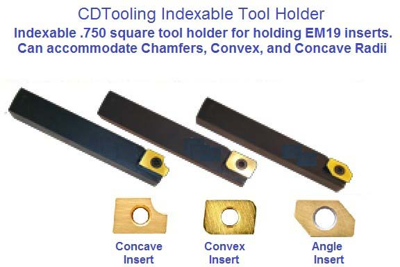 Indexable Carbide Insert Turning Holder, Convex, Corner Round Concave, Angle Cutting ID 2006-