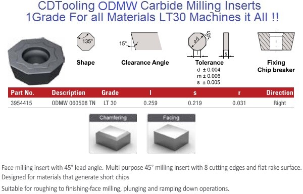 ODMW 060508 TN LT30 Carbide Inserts Multi-Material 1 Grade for all Materials, fits Seco, Walters cutters 10 Pack ID 2107-