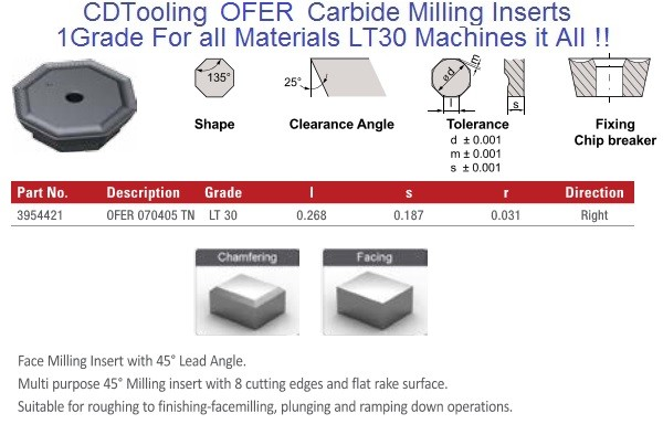 OFER 070405 TN LT30 Carbide Inserts Multi-Material 1 Grade for all Materials, fits Iscar, Seco cutters 10 Pack ID 2108-