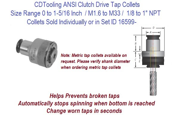 CAT40 Tension / Compression Tap Holder Collets Size Range achievable  0-1-7/8, 1/8 to 1 NPT, M1.6 to M42 ID 16599-