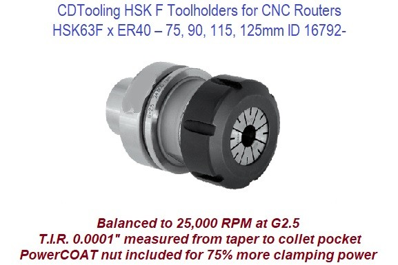 HSK63F x ER40 - 75mm 90mm 115mm 125mm - Toolholders for CNC Routers ID 16792-