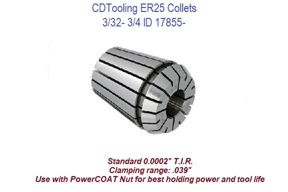 ER25 Collets 3/32 - 3/4 Inch ID 17855-