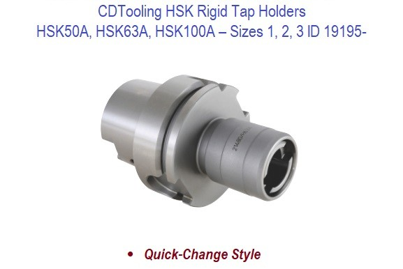 HSK50A 63A 100A Rigid Tap Holders - Sizes 1 2 3 ID 19195-