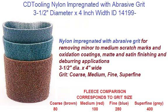 3-1/2 Inch Diameter, 4 wide Nylon impregnated with abrasive grit Belt Sleeves For Linear Sanding 4 Pack ID 14199-