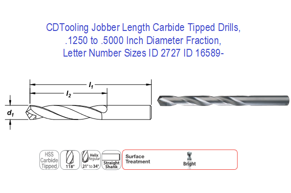 "1//2/"" .5000/"" Carbide Tipped Jobber Length Drill"