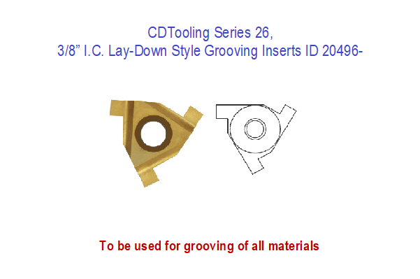 Lay-Down Style Grooving Inserts, Series 26, 3/8