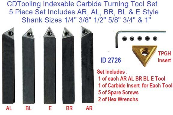 Indexable Carbide Turning Tools AR AL BR BL E Individual and Sets ID 2726-