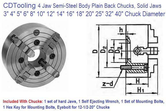 4 Jaw Solid Independent Chuck, Sizes, 6 8 10 12 16 20 Inch Series 3-850