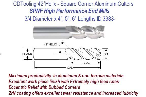 .750 3/4 Diameter x 4, 5, 6 Inch Length HP End Mills For Aluminum and Non-Ferrous ID 3383-