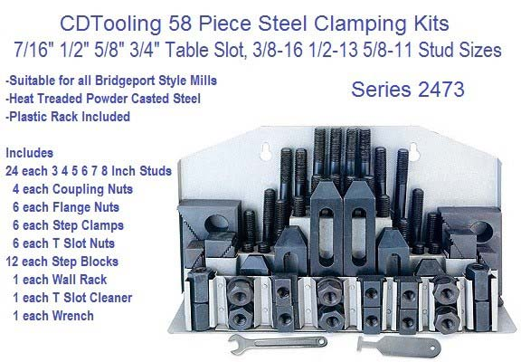 58 Piece Steel Clamping Kit 3/8 7/16 1/2 5/8 3/4 Table Slot, 5/16-18 3/8-16 1/2-13 5/8-11 Studs ID 2473-