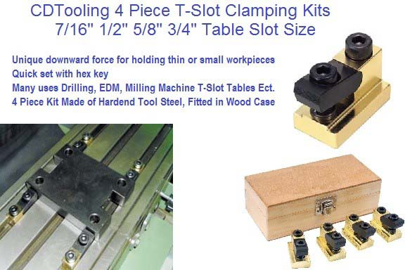 4 Piece T Slot Clamping Kits 7/16 1/2 5/8 3/4 Table Slot Sizes