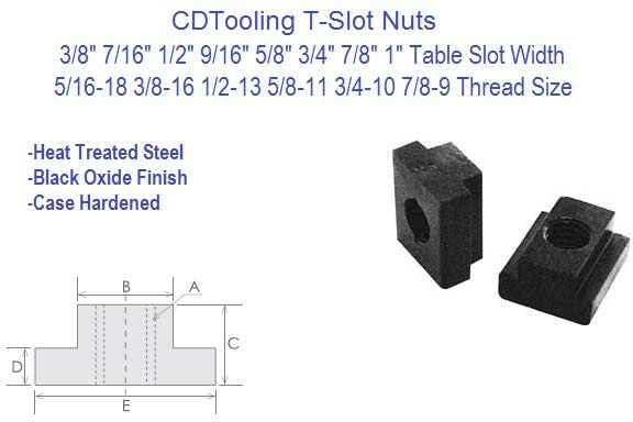 T-Slot Nuts 3/8, 7/16, 1/2, 9/16, 5/8, 3/4, 7/8, 1 Inch Table Slot 10 Pack ID 2474-