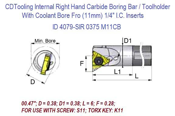 SIR0375M11CB Internal Right Hand Carbide Shank Boring Bar with Coolant Bore 11.0mm / 1/4 IC Inserts .470 Bore .38 Dia x 6.0 L ID 4079-