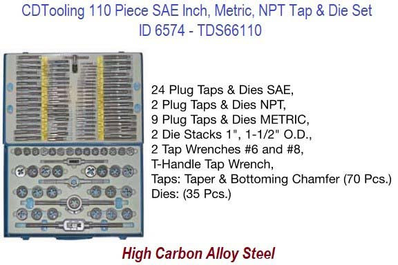 4-40 TO 3/4 M6-M18 1/8, 1/4 Pipe Tap and Die Set 110 Piece UNC, UNF, SAE, Metric, NPT  in Metal Case ID 6574-TDS66110