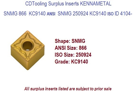 SNMG 866 KC9140 / SNMG 250924 Kennametal Carbide Inserts 5 pack  ID 4104-
