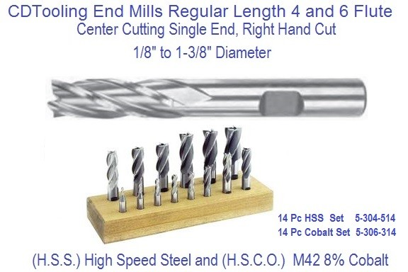 End Mills, 4 Flute,6 Flute, Single Square End High Speed Steel, Cobalt 1/8 to 1-3/8 Inch