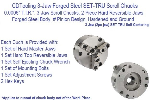 3-Jaw Forged Steel SET-TRU Scroll Chucks 5, 6-1/4 8, 10, 12, 15-1/4,Inch Series 3-866 ID 2607-