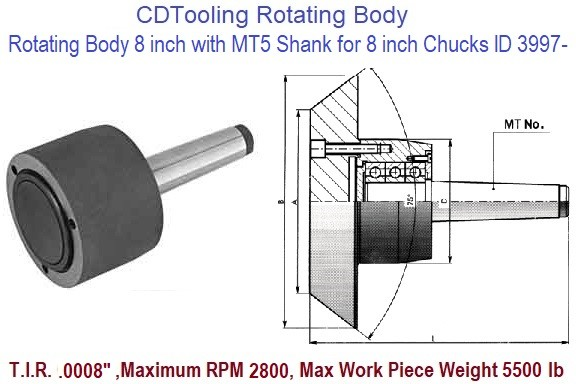 Rotating Chuck Lathe Body 8 inch with MT5 Shank for 8 inch Chucks ID 3997-3-573-085P