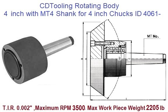 Rotating Chuck Lathe Body 4 inch with MT4 Shank for 4 inch Chucks ID 4061-3-573-044P