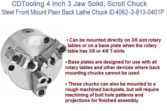 4 Inch 3 Jaw Solid, Scroll Chuck Steel Front Mount Plain Back Lathe Chuck ID 4062-3-813-0401P ID 4062-