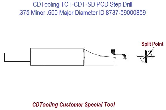 TCT-CDT-SD Solid Carbide PCD Diamond Tipped Step Drill .375 Minor .600 Major Diameter No Coolant Feed ID 8737-59000859