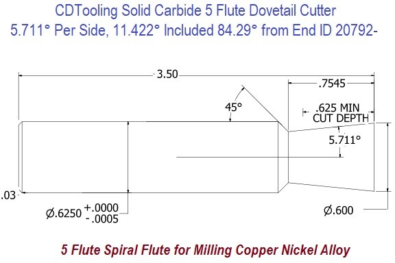 5.711 Per Side, 11.422 Included 84.29 Degree from End Solid Carbide Dovetail Cutter 5 Flute ID 20792-