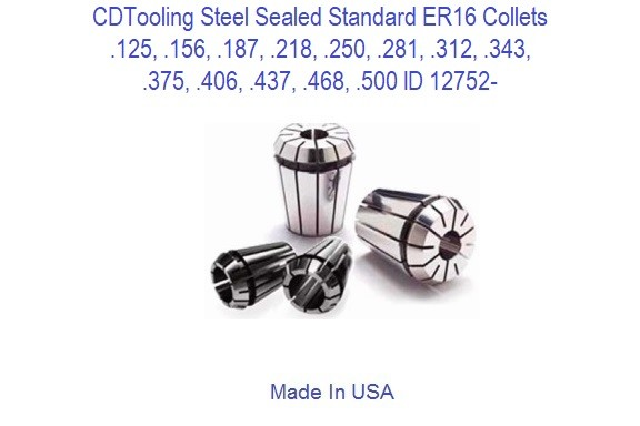 Steel Sealed Standard- ER20 Collets .125, .156, .187, .218, .250, .281, .312, .343, .375, .406, .437, .468, .500 ID 12752-
