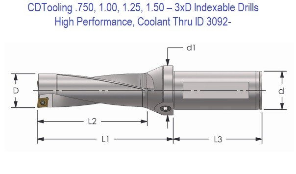 .750, 1.00, 1.25, 1.50 - 3xD High Performance Indexable Drills, Coolant Thru ID 3092-
