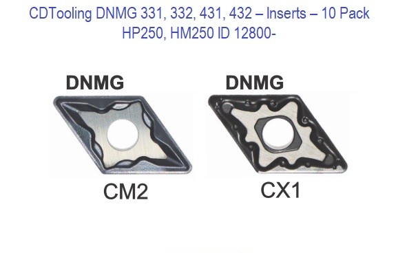 DNMG 331, 332, 431, 432 - HP250, HM250 - 10 Pack Inserts ID 12800-