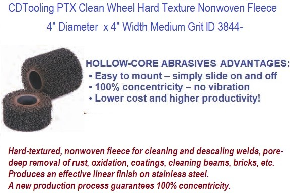 4 Inch  Diameter x 2 or 4 Inch Wide PTX Clean  hard-textured, nonwoven fleece- cleaning, descaling welds, pore-deep, rust, oxidation, coatings  ID 3844-