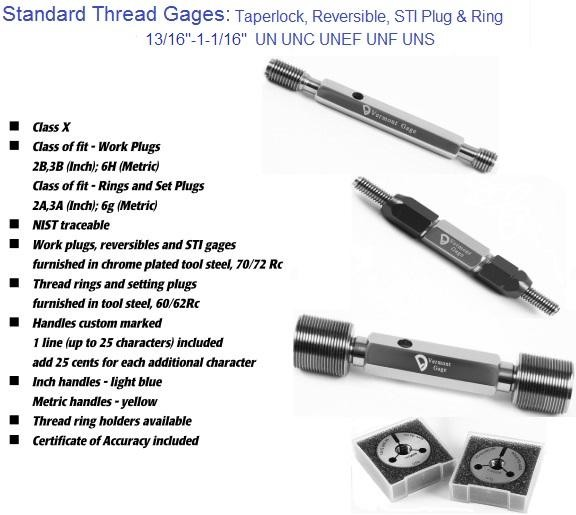 Standard Thread Gages Work Plugs, Rings and Set Plugs 13/16