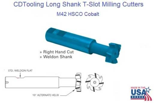 T-SLOT Cutter - LONG LENGTH - 1-1/4 X 3/16 - M-42(COBALT) -LTS4012M42 - ID: 1639-20302