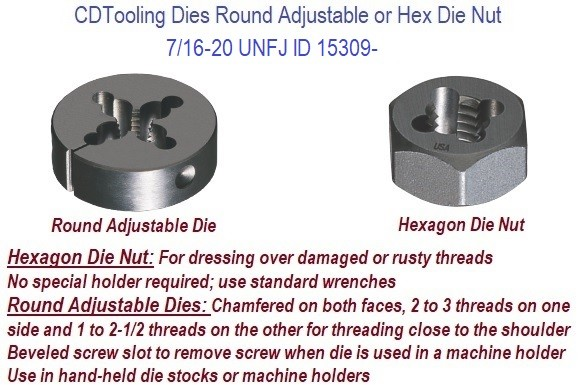 7/16-20 UNFJ Carbon Hex Die / High Speed Steel Round Die ID 15309-